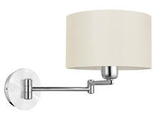 Eglo 88563A - 1x60W Wall Light w/ Brushed Aluminum & Chrome Finish & White Fabric Shade