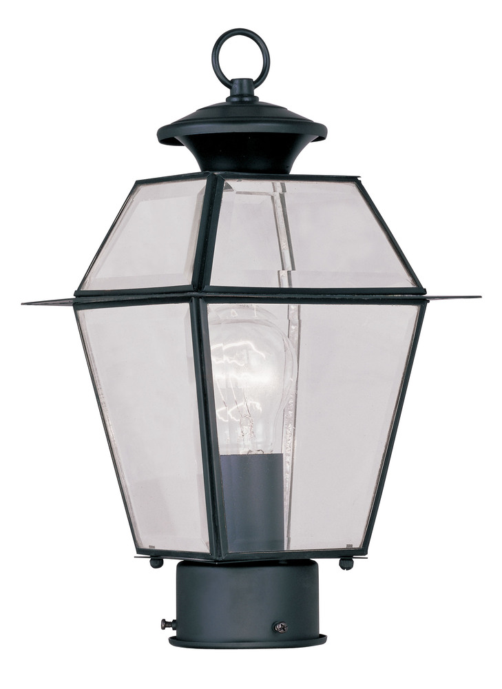 1 light black outdoor post lantern