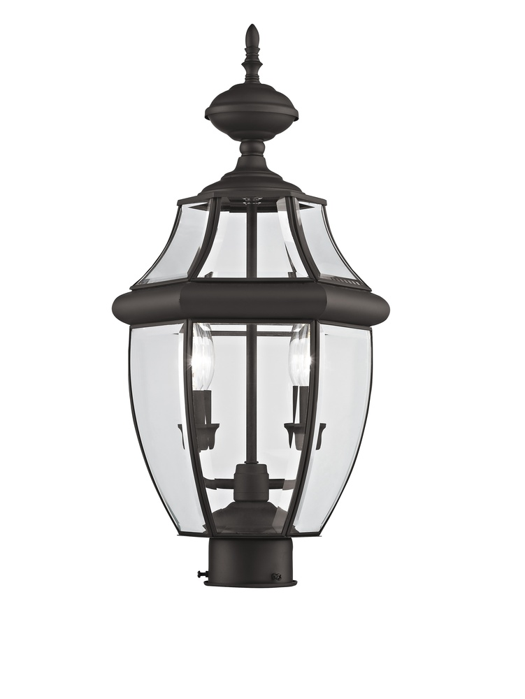 2 light bronze outdoor post lantern
