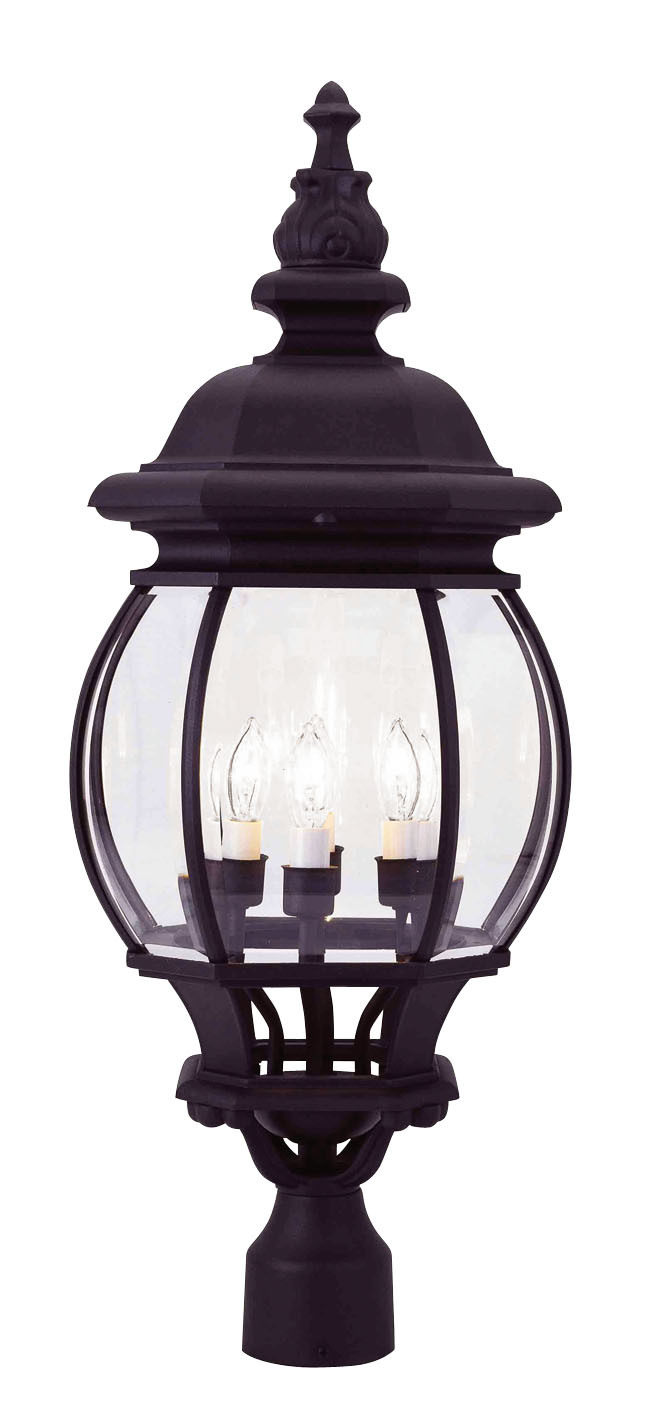 4 light black outdoor post lantern