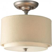 Progress P3886-134 - Two Light Silver Ridge Toasted Linen Shade Glass Drum Shade Semi-Flush Mount