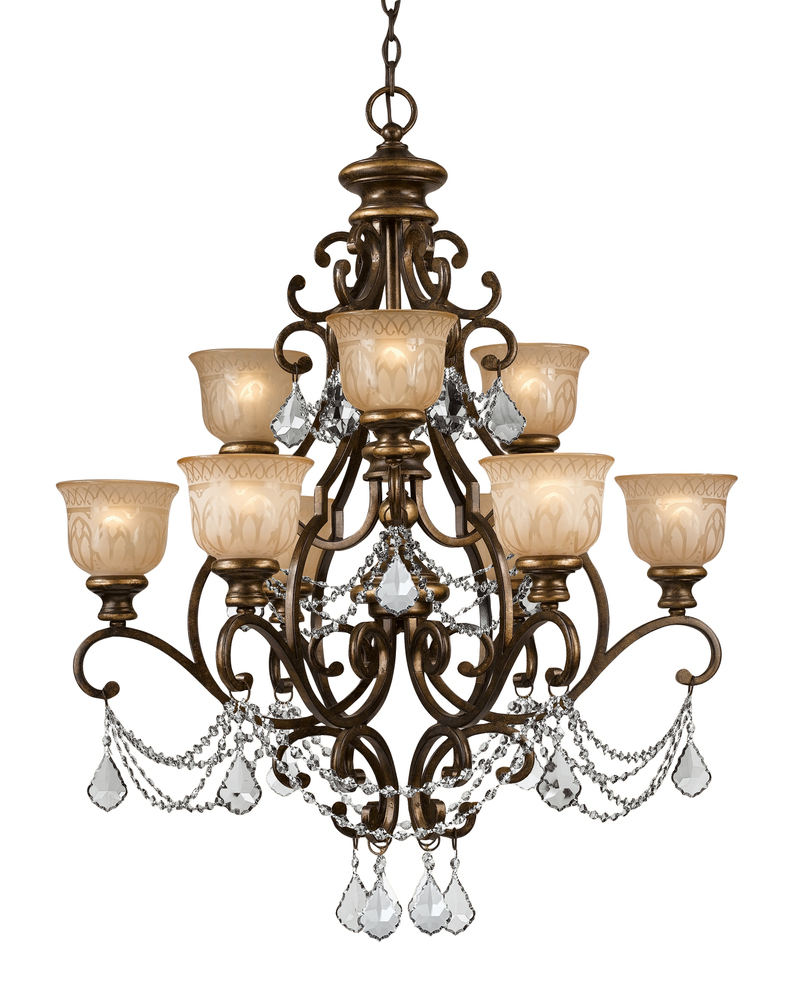 Crystorama Norwalk 9 Light Clear Crystal Bronze Umber Chandelier
