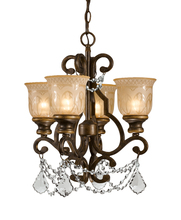 Crystorama 7504-BU-CL-MWP - Crystorama Norwalk 4 Light Clear Crystal Bronze Mini Chandelier