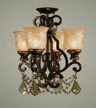 Crystorama 7504-BU-GT-MWP_CEILING - Crystorama Norwalk 4 Light Golden Teak Crystal Bronze Ceiling Mount