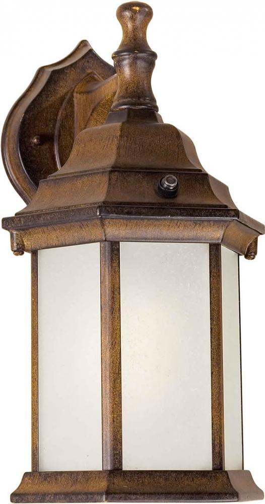 One Light Rustic Sienna Frosted Seeded  Panels Glass Wall Lantern