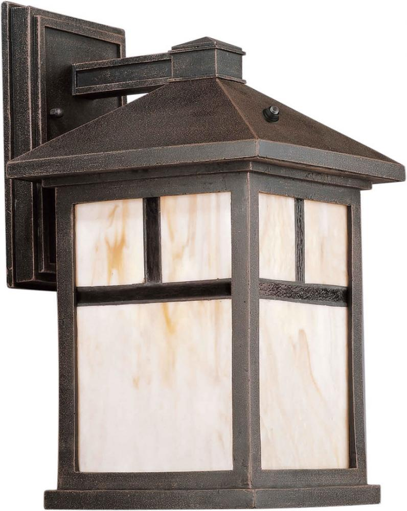 One Light Painted Rust Honey  Panels Glass Wall Lantern