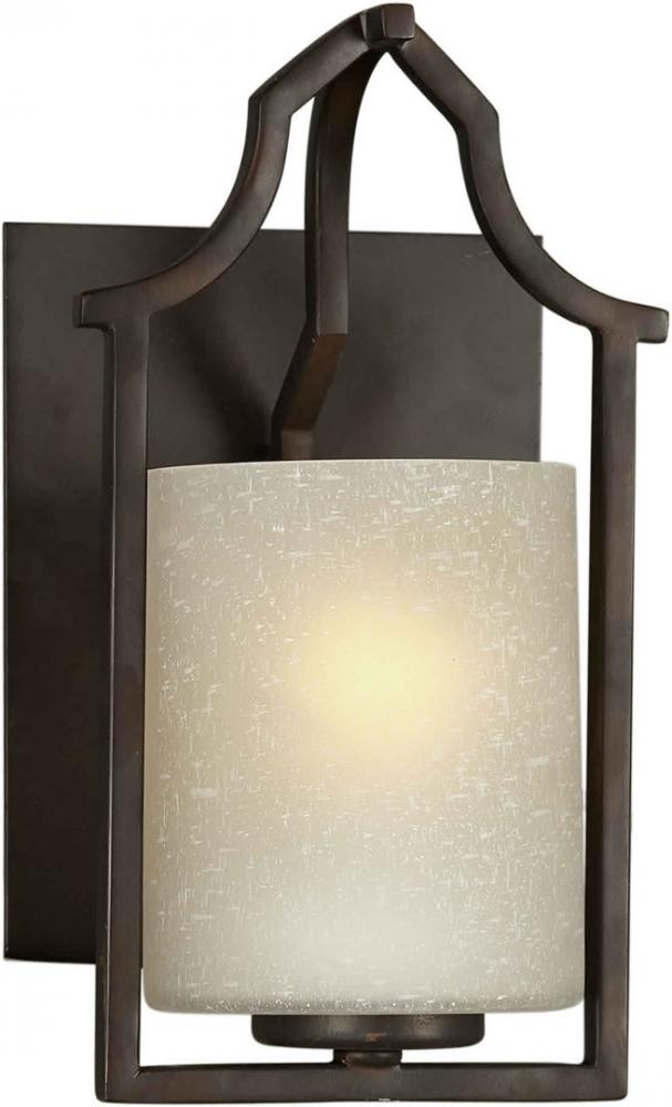 One Light Antique Bronze Umber Linen Glass Wall Light