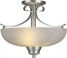 Forte 2095-02-55 - Two Light Brushed Nickel Marble Glass Bowl Semi-Flush Mount