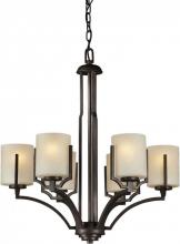 Forte 2401-06-32 - Six Light Antique Bronze Umber Linen Glass Candle Chandelier