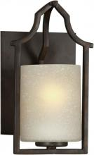 Forte 2402-01-32 - One Light Antique Bronze Umber Linen Glass Wall Light