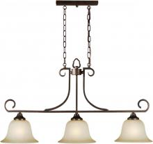 Forte 2440-03-32 - Three Light Antique Bronze Umber Mist Glass Pool Table Light
