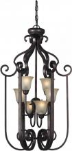 Forte 2446-06-32 - Six Light Antique Bronze Shaded Umber Glass Open Frame Foyer Hall Fixture