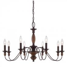 Quoizel HK5008TC - Eight Light Brown Up Chandelier