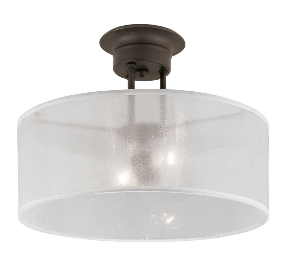 Two Light Rubbed Oil Bronze Clear Ribbed Outer, Frosted Inner Glass Drum Shade Semi-Flush Mount