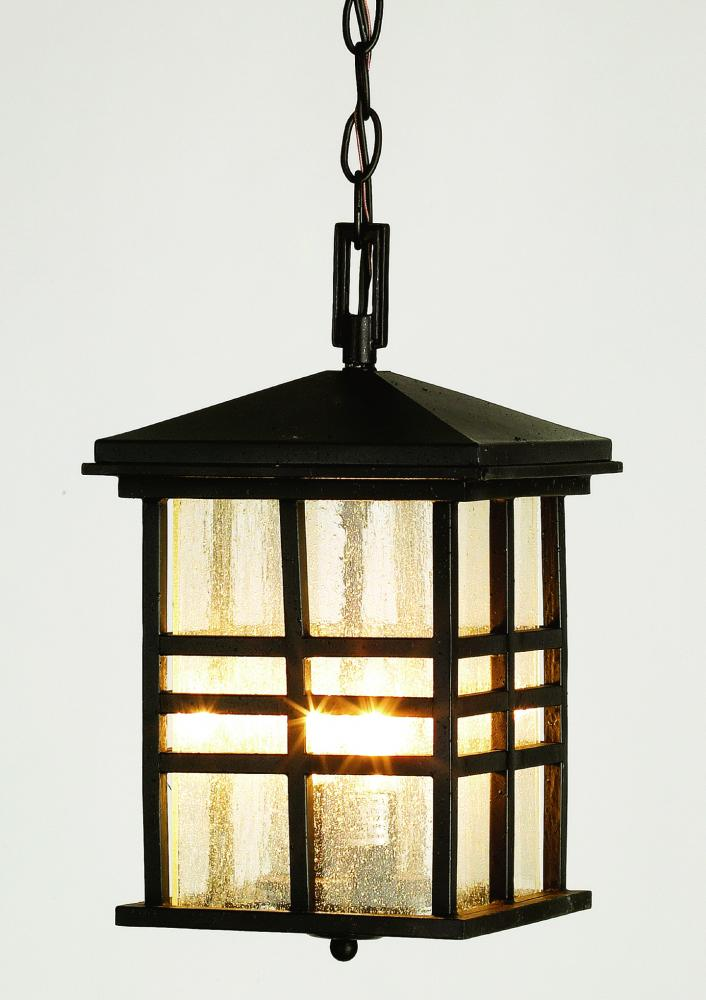 Two Light Weathered Bronze Clear Seeded Rectangle Glass Hanging Lantern