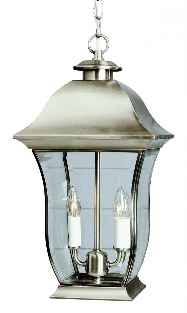 Two Light Weathered Bronze Clear Beveled, Curved, Rectangle Glass Hanging Lantern