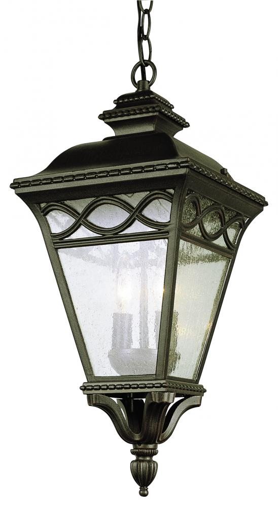 Three Light Black Clear Seeded Glass Hanging Lantern
