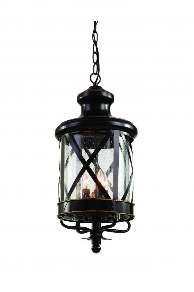 Four Light Antique Copper Clear Seeded Glass Hanging Lantern