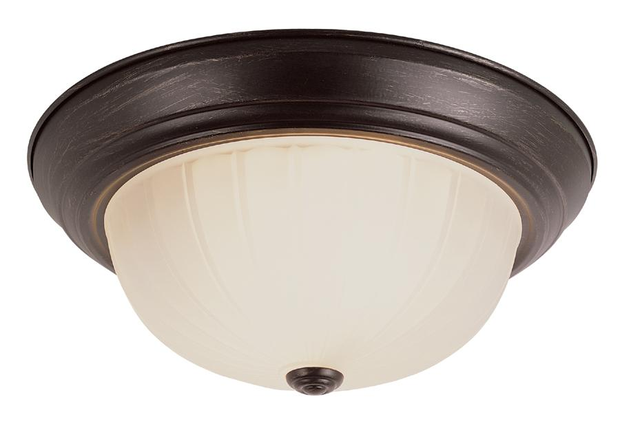 Three Light Rubbed Oil Bronze White Frosted, Melon Glass Bowl Semi-Flush Mount