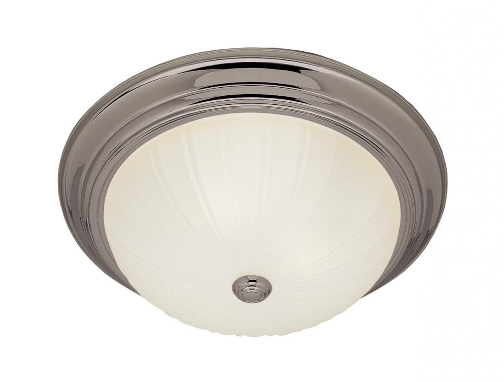 Three Light Brushed Nickel White Frosted, Melon Glass Bowl Semi-Flush Mount