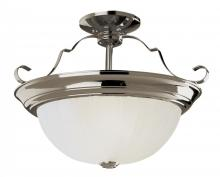 Trans Globe PL-13213 BN - Two Light Brushed Nickel White Frosted, Melon Glass Bowl Semi-Flush Mount