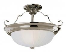 Trans Globe PL-13215 BN - Three Light Brushed Nickel White Frosted, Melon Glass Bowl Semi-Flush Mount