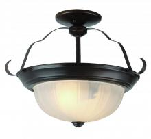 Trans Globe PL-13215 ROB - Three Light Rubbed Oil Bronze White Frosted, Melon Glass Bowl Semi-Flush Mount