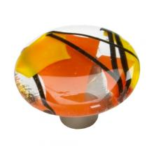 "Schaub Hardware 31-COO - Schaub Confetti/Orange 1.5"" Round Glass Knob"