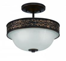 Jeremiah 36352-ABZG - Two Light Aged Bronze W/gold Antique Clear Glass Bowl Semi-Flush Mount
