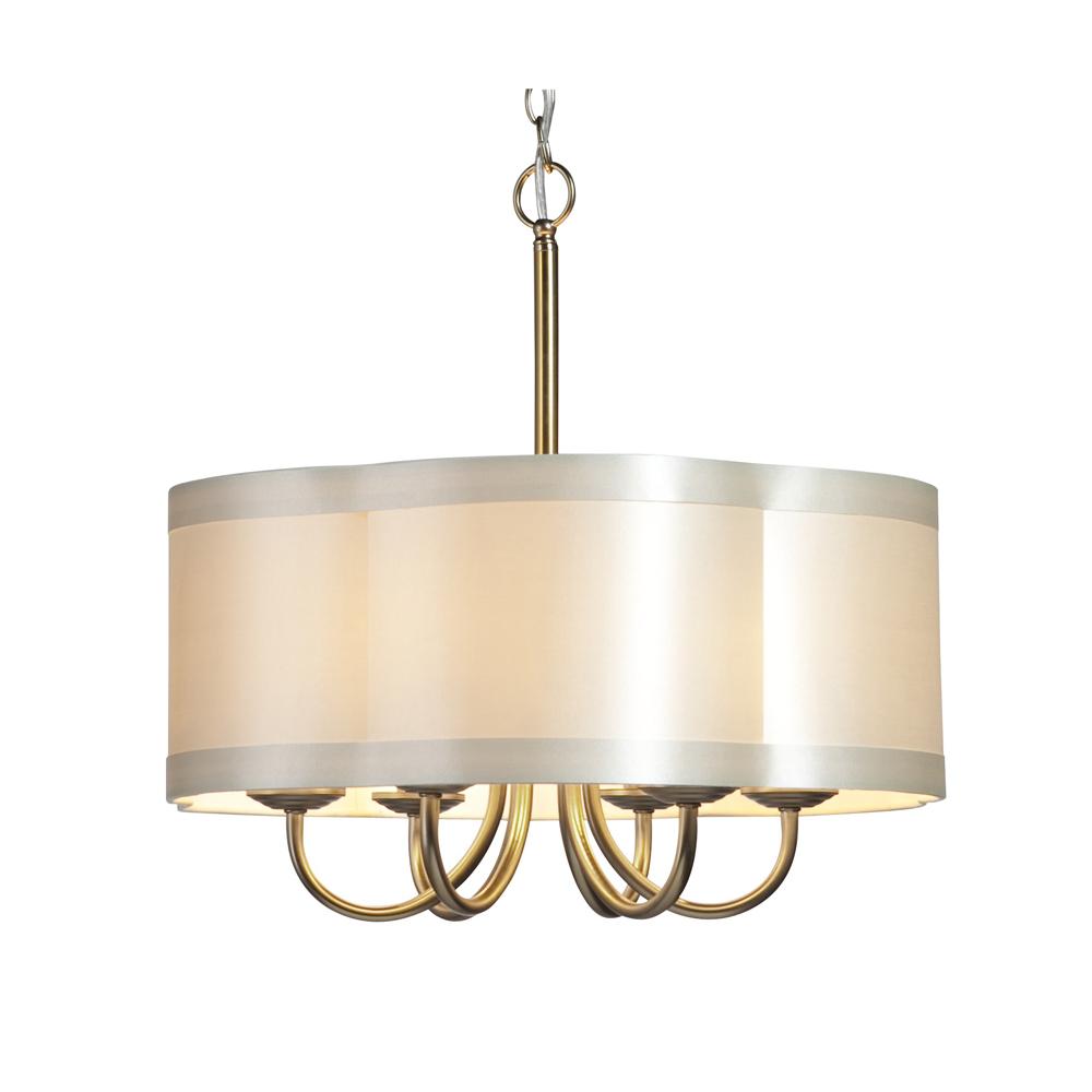 six light antique brass scalloped silk shade drum shade