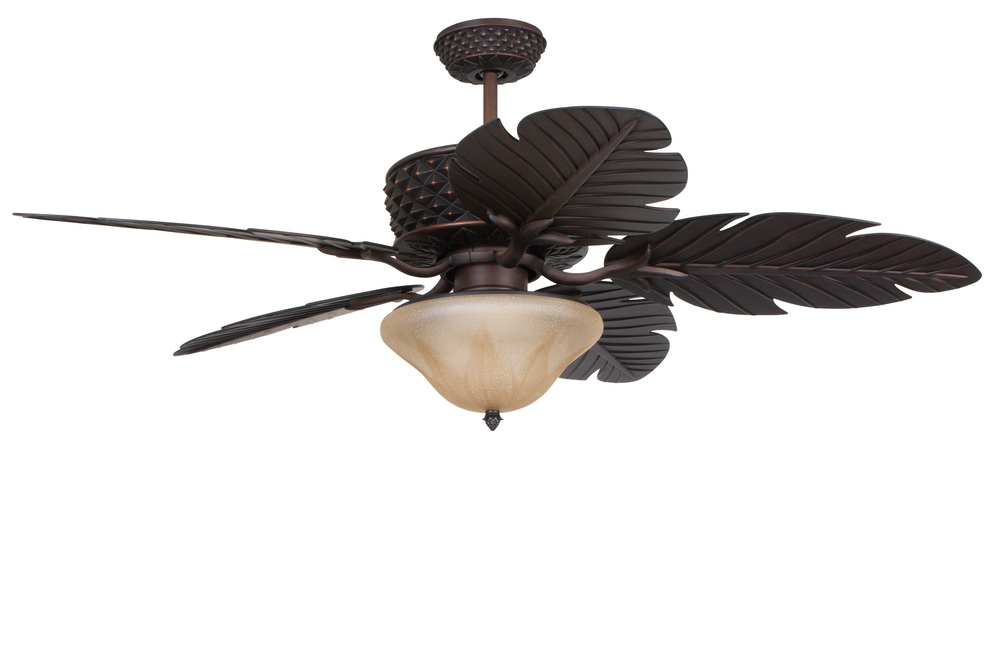 Pineapple 52 ceiling fan with blades in aged bronze brushed