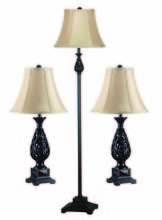 Kenroy Home 21017GFBR - Prescott 3-Pk Table/Floor Lamp