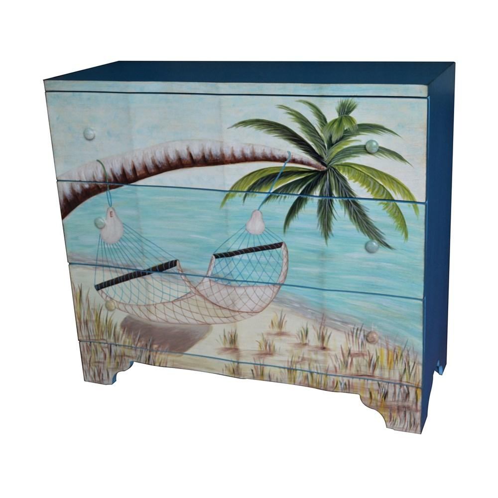 Crestview Collection Gulf Breeze 3 Drawer Painted Beach Scene Chest
